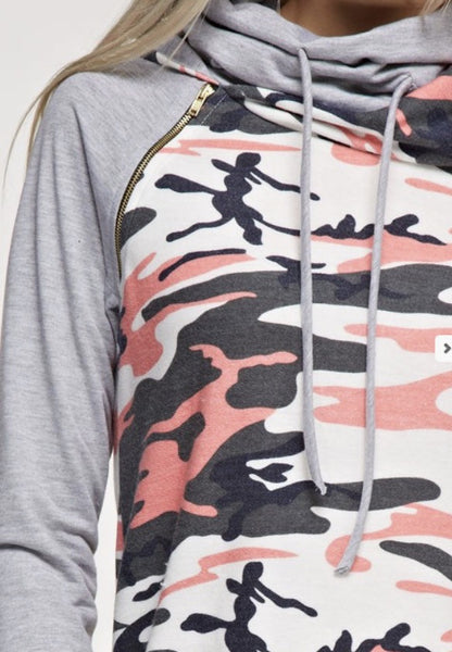Camouflage Print Contrast French Terry Solid Cowl Neck Hoodie