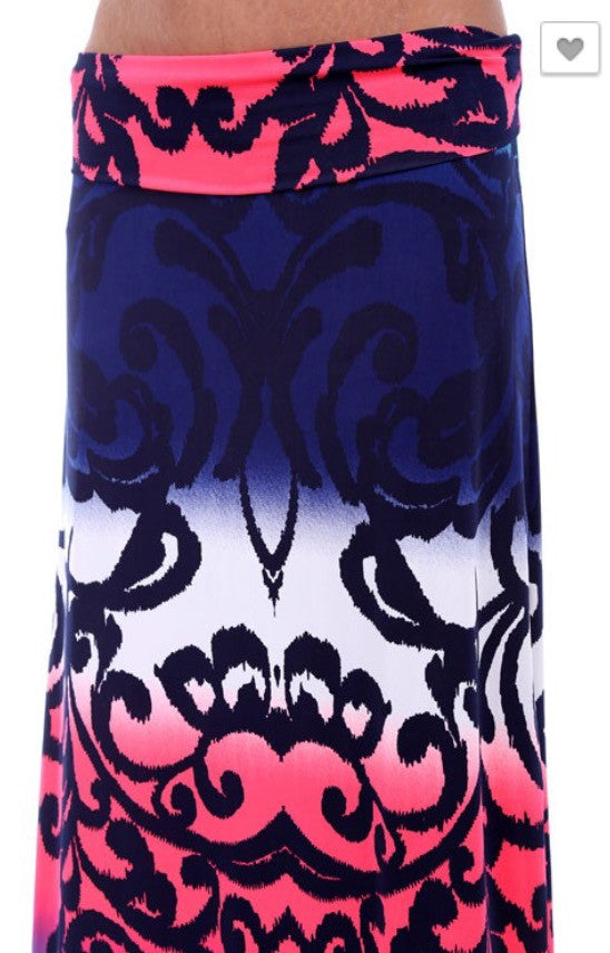 Colorful Print Maxi Skirt