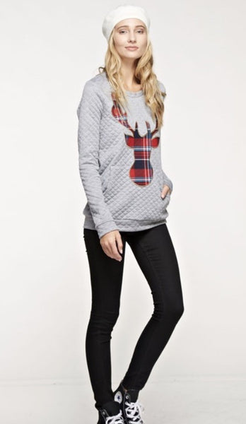 Quilted Solid Long Sleeve Top with Plaid Reindeer Patch and Front Pocket