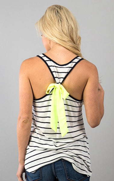 Striped Tank with Yellow Anchor Print and Back Bow