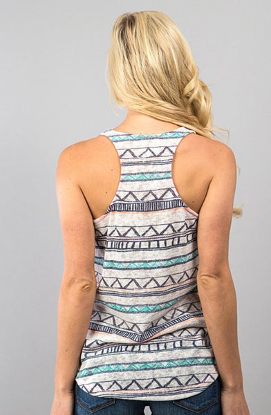 Knit Tank Top with Tribal Pocket and Back