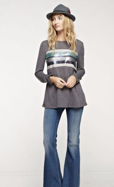 Solid Knit Top with Multi-Color Sequins Color Block Panel and Elbow Patch