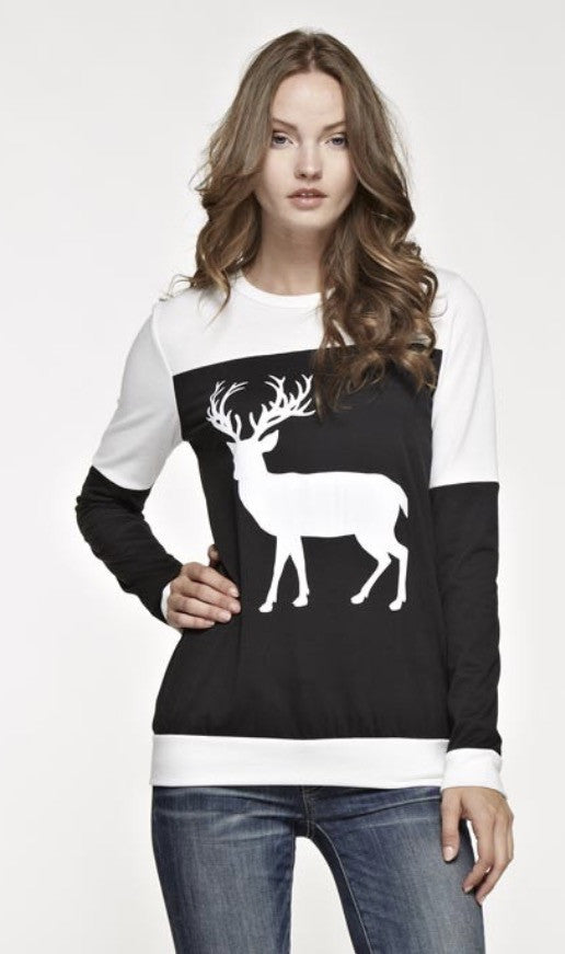 French Terry Color Block Top with Solid Reindeer Patch