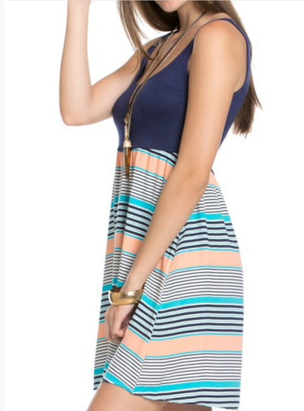 Navy Top Stripe Bottom Tank Dress