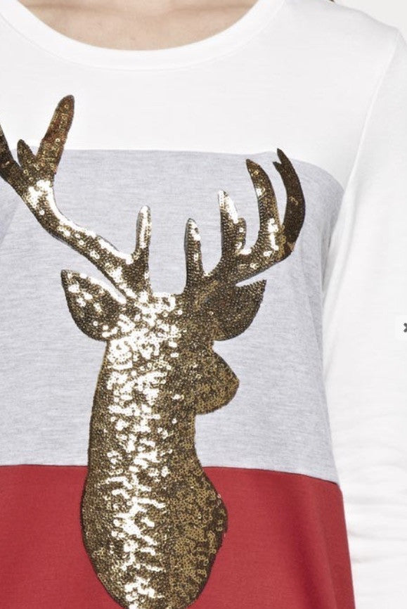 French Terry Color Block Top with Glitter Reindeer Patch
