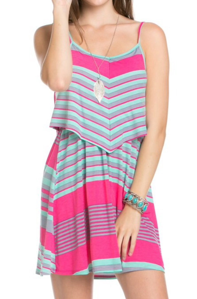 Handkerchief Style Top Stripe Dress