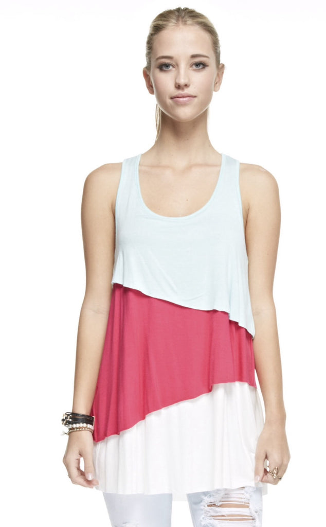 Layered Colorblock Tank with Back Bow
