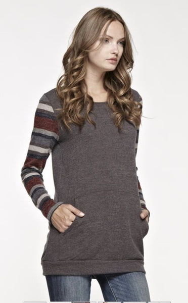 Knit Solid Top with Multi-Color Stripe Sleeves and Side Pockets