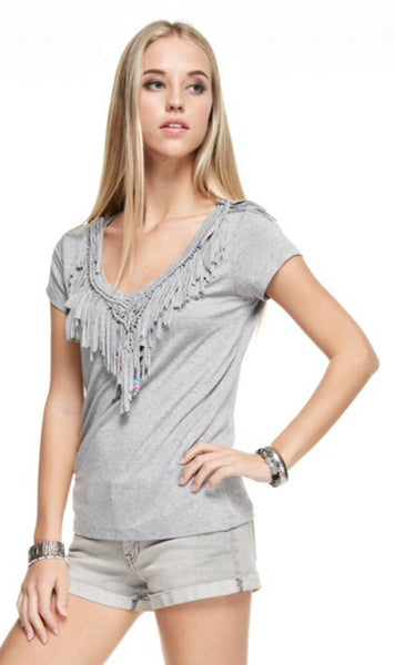 Fringed Beaded Collar Short Sleeve Top