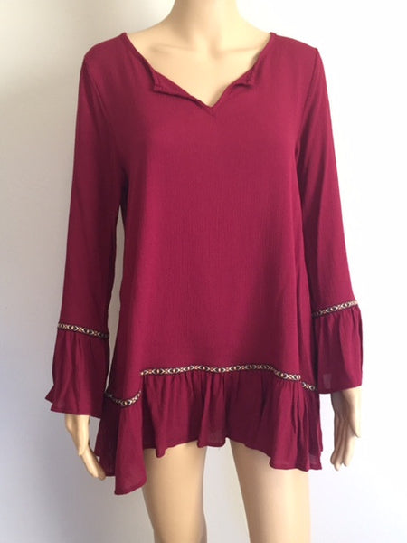 Long Sleeve Solid Woven Top