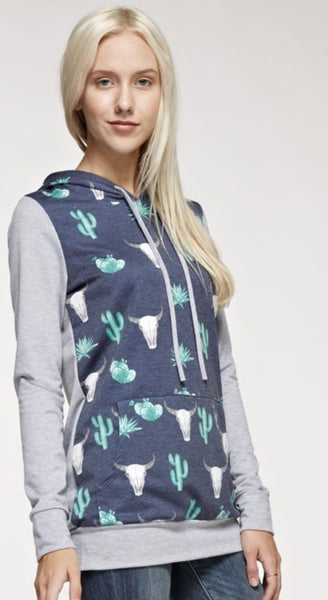 Cactus Print Hoodie with Front Pocket