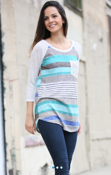 Multi Blue Stripe Lace Pocket Top