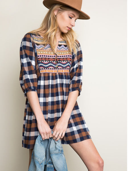 Brown and Navy Mix Plaid Baby Doll Dress