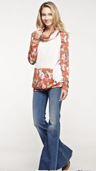 French Terry Floral Print Contrast Solid Laced Cowl Neck Top