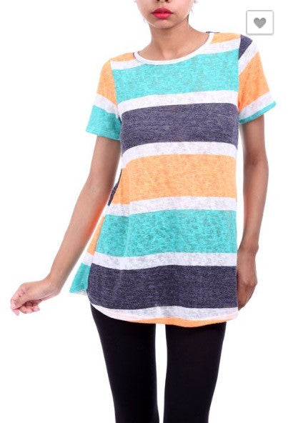 Short Sleeve Woven Wide Stripe Top