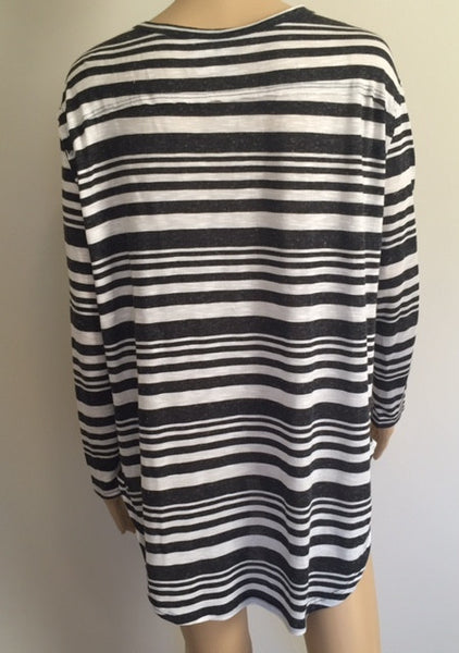 Long Sleeve Stripe Button Top