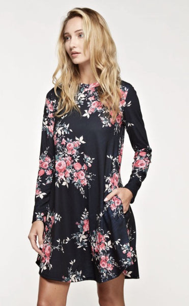 Long Sleeve A Line Print Dress with Side Pockets