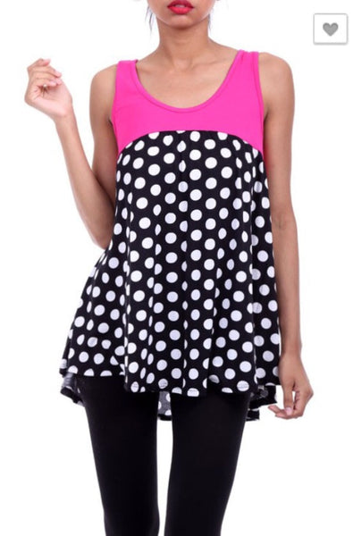 Polka Dot Print Tank Top