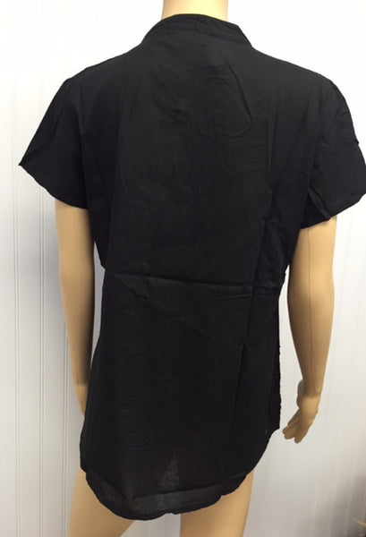 India Black Peasant Short Sleeve Top