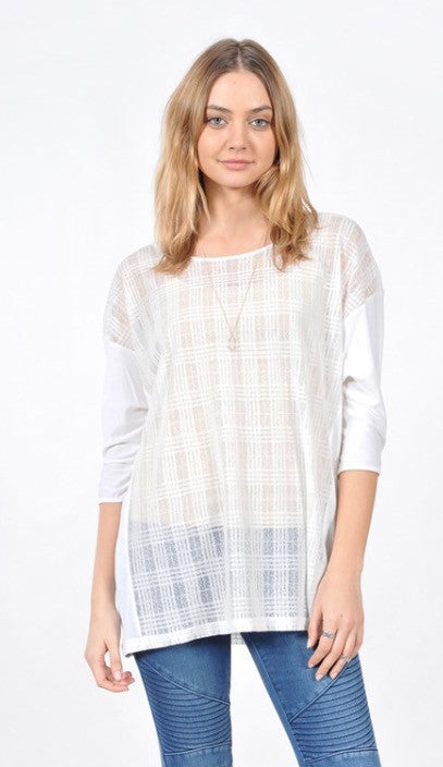 Quarter Sleeve Grid Design Top