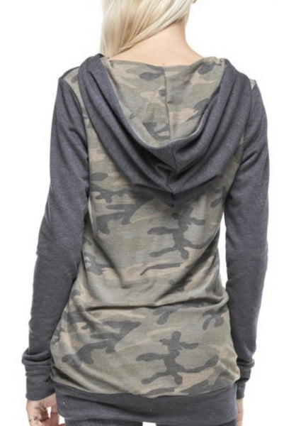 French Terry Camo Contrast Solid Hood Top