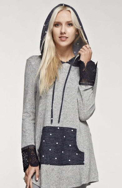 Long Sleeve Hoodie with Lace Sleeve and Front Pocket
