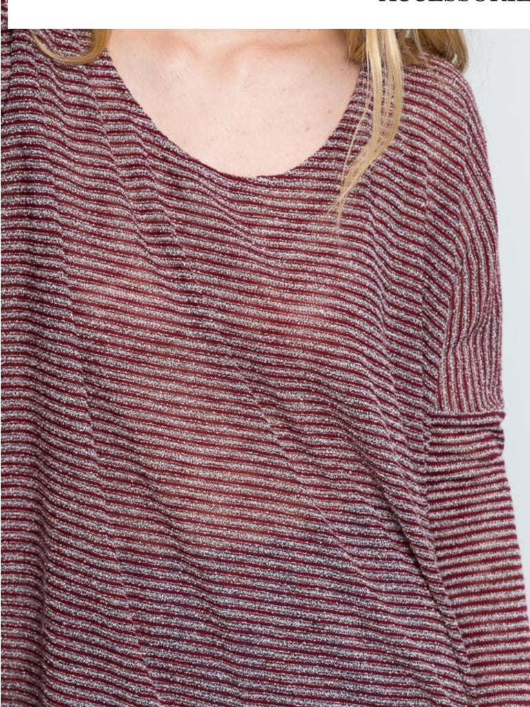 Burgundy Stripe Knit SweaterTop