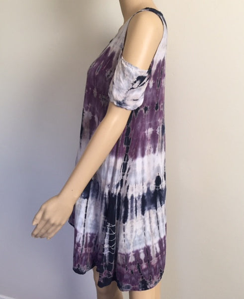 Short Sleeve Open Shoulder Tie Dye Tunic
