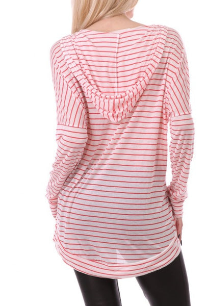 Light Striped Long Sleeve Hoodie