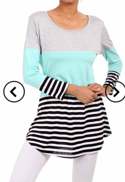 Long Sleeve Color Block Lace Back Tunic