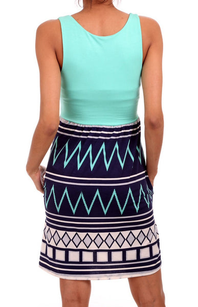 Mint Top Aztec Design Tank Dress