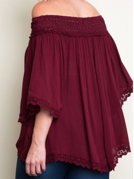 Burgundy Off Shoulder Lace Tunic