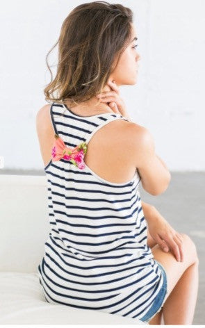Stripe Tank with Floral Print Pocket and Back Bow