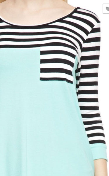 Stripe Sleeve Solid Top