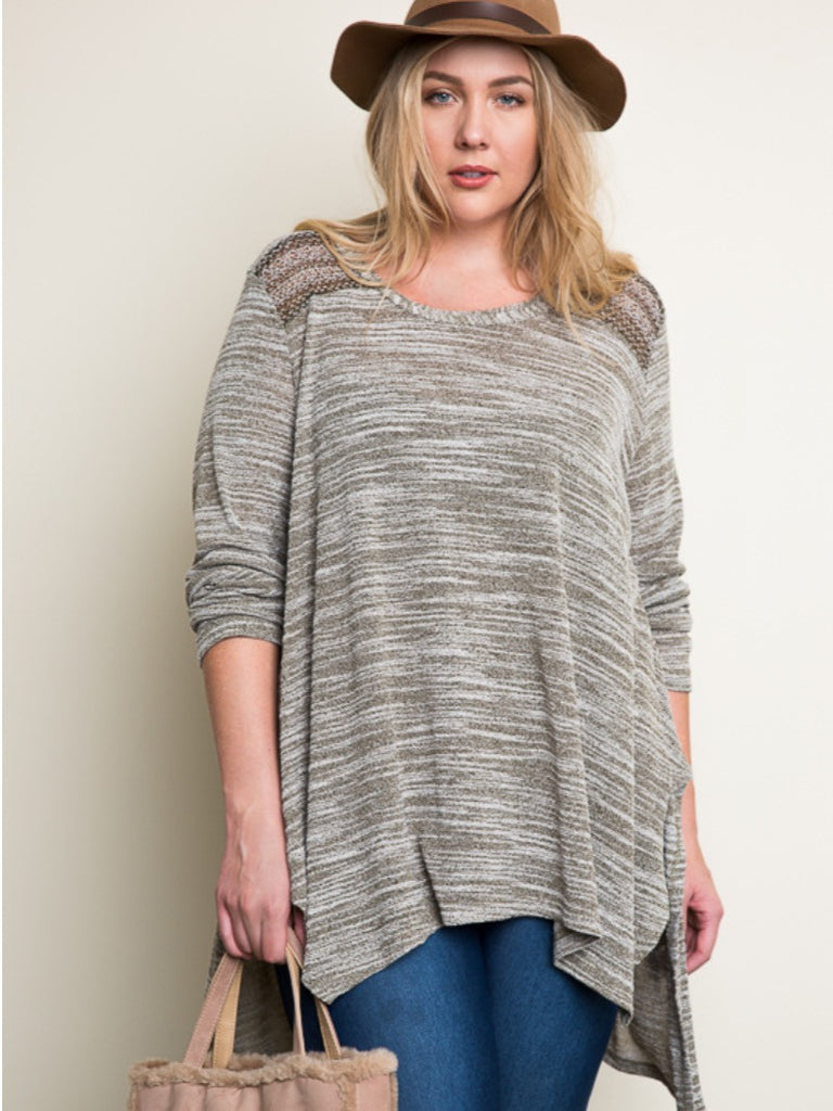 Long Sleeve Feathered Knit Top
