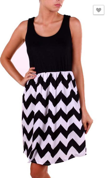 Black and White Chevron Tank Dress