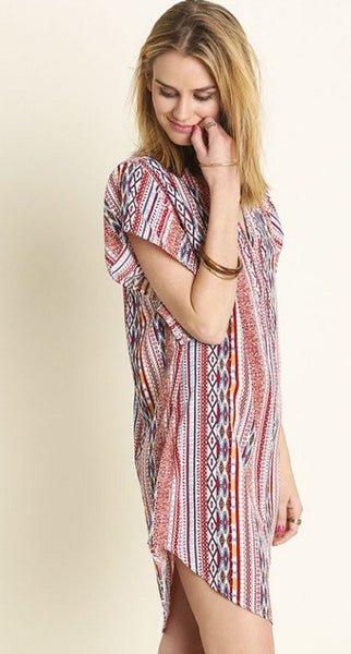 Aztec Print Red Mix Dress
