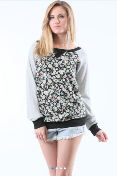 Fall Flower French Terry Sweater Shirt