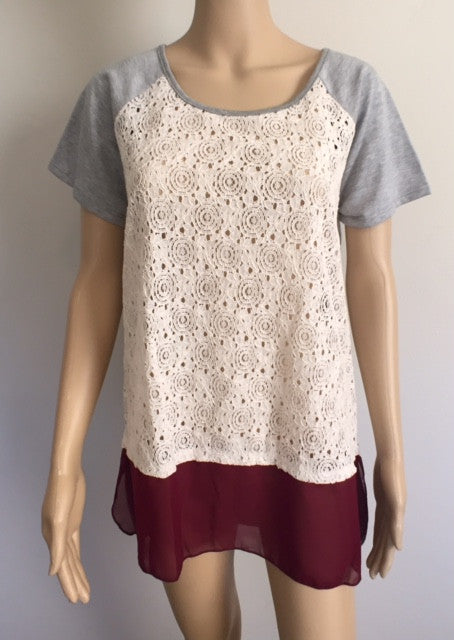 Short Sleeve Lace with Chiffon bottom
