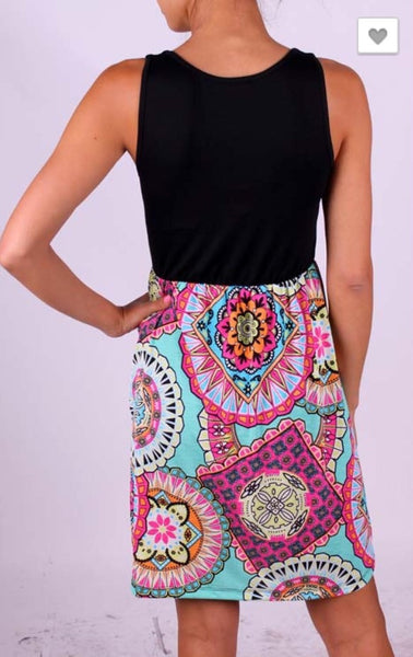 Tank Dress with Multi Print Bottom