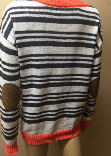Striped Sweater with Neon Orange Banding