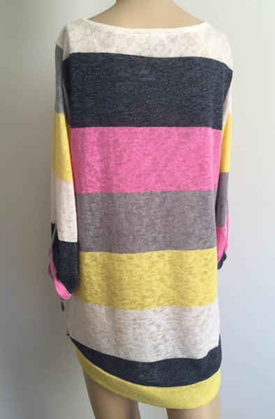 3/4 Sleeve Bright Color Stripe Fashion Top