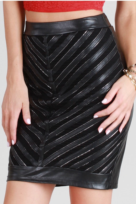 Black Chevron Faux Leather Skirt
