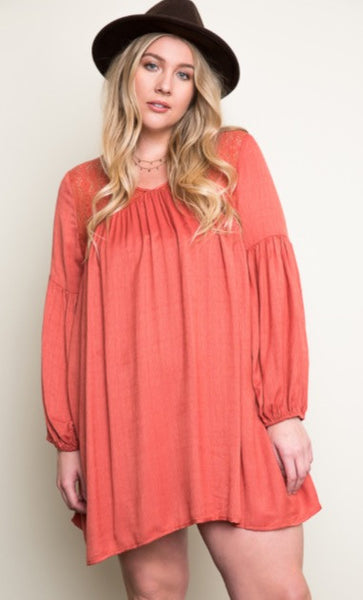 Rust Lace Peasant Dress Plus Size