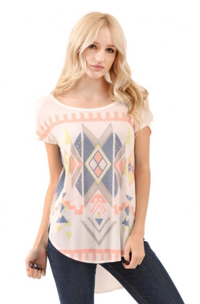 Round Neck Knit Aztec Print Top