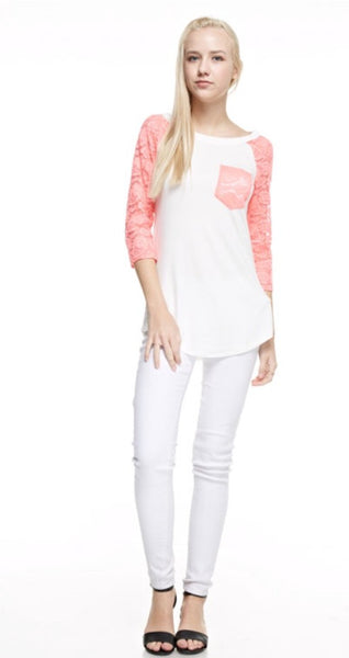 Raglan Tee with Lace Sleeves