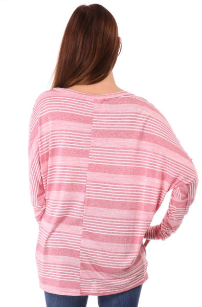 Round Neck Long Sleeve Lightweight Stripe Tee