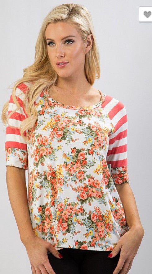 Short Sleeve Jersey Stripe Floral Print Top