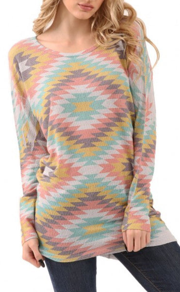 Aztec Print Long Sleeve Lightweight Top