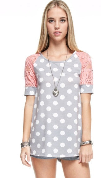Grey with White Polka Dot with Pink Lace Sleeve Top
